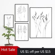 Noir blanc botanique Spikelet croquis une ligne dessin toile peinture herbe sauvage plante mur Art imprimer affiches esthétique chambre Dec