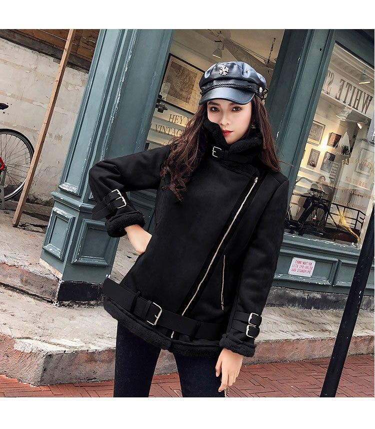 2020 new short ladies motorcycle deerskin plus velvet thin sheepskin coat retro Hong Kong style fur  women enlarge