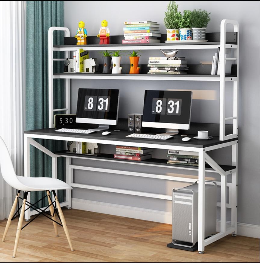 Escritorio para ordenador, escritorio para el hogar, estante para libros, combinación Simple, doble, mesa de estudio, escritorio para dormitorio, escritorio para escribir