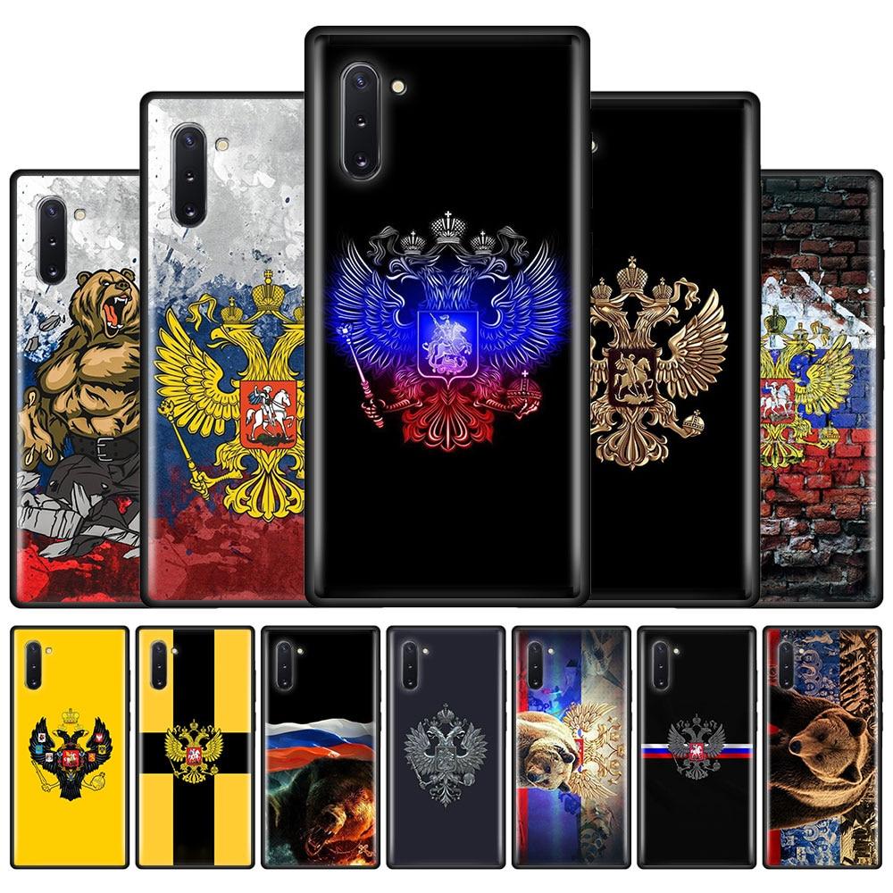 Funda de teléfono de silicona con emblema de bandera rusa para Samsung Galaxy Note 10 Plus 8 9 10 Lite M11 M21 M31 M51 M01 A7 A9