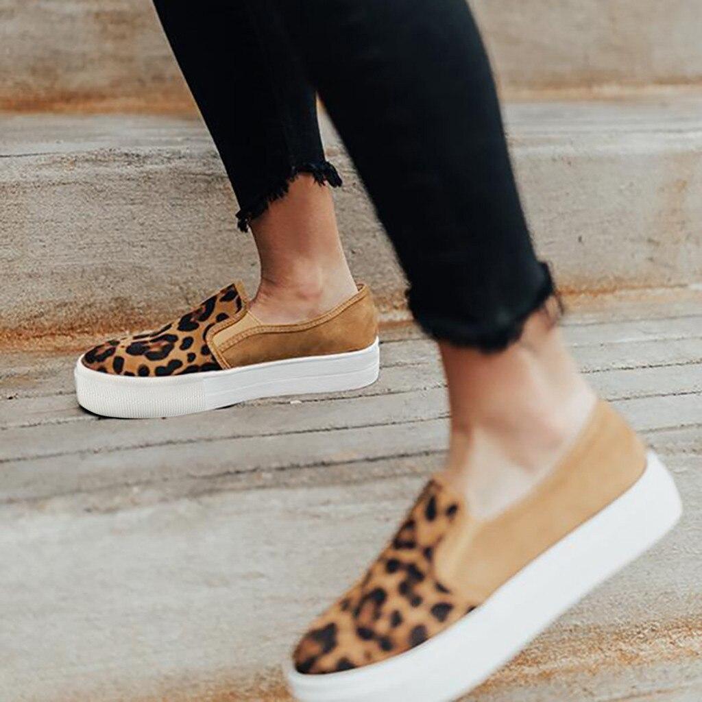 Zapatos planos de leopardo cómodos para mujer, zapatos vulcanizados de lona de otoño para mujer, zapatillas de deporte casuales de moda con plataforma