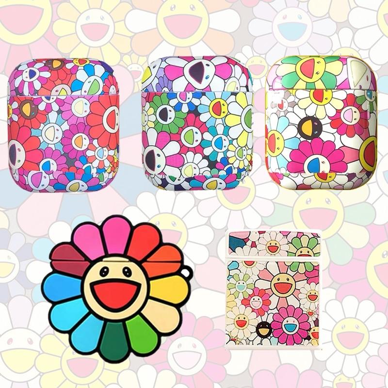 3D Takashi Murakami Kaikai Kiki Sun Flower Headphone Cases for Apple Airpods Silicone Cute Earphone Cover Accesorios Airpods