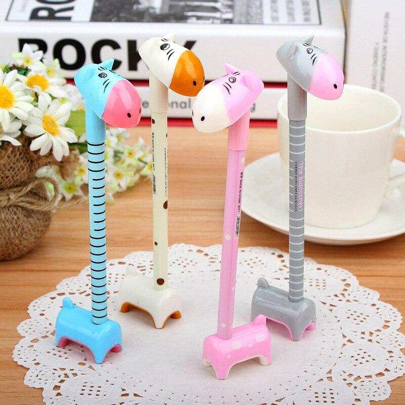 3 pçs dos desenhos animados girafa bola ponto caneta kawaii engraçado bola canetas para a escola escrita presente criativo artigos de papelaria material de escritório k1330 k
