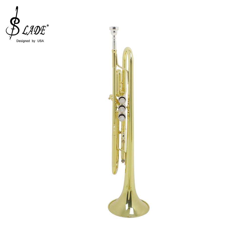 SLADE Musical Trumpet Bb B Flat Brass Trompeta Golden Durable Trompete Musical Instrument With Mouthpiece Gloves Foam Case enlarge