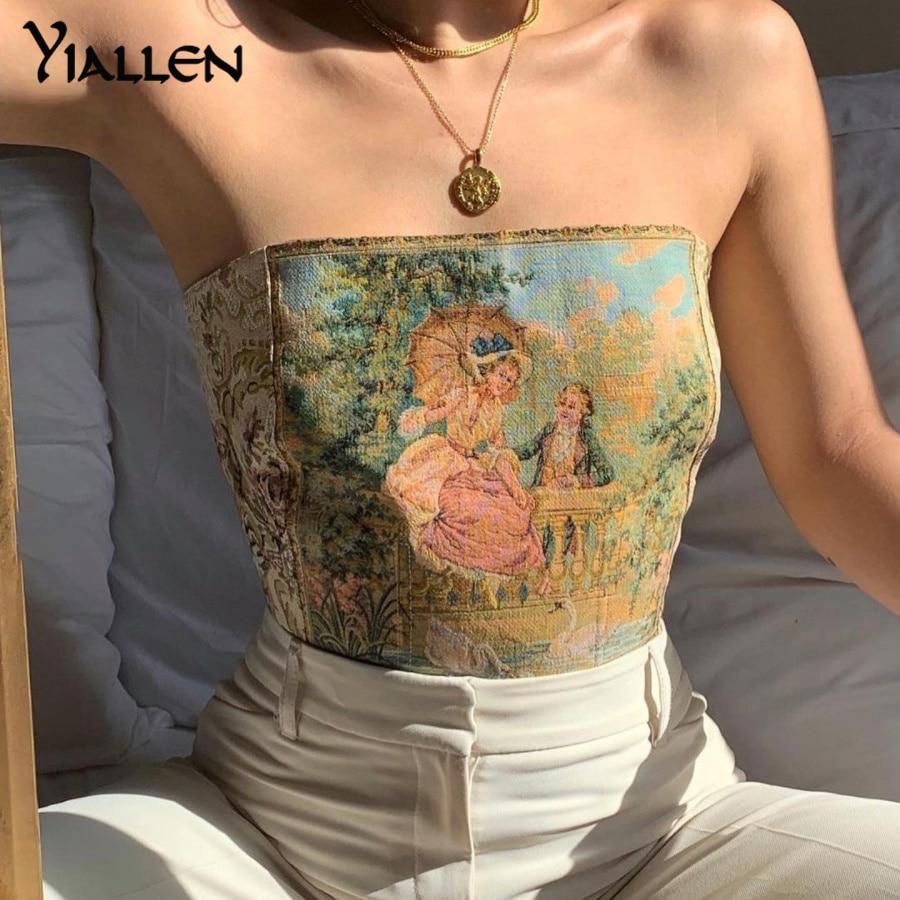 Летние женские пикантные Топы Yiallen с открытыми плечами, новинка 2021, майки без бретелек с открытой спиной и принтом, пикантные женские топы, о...
