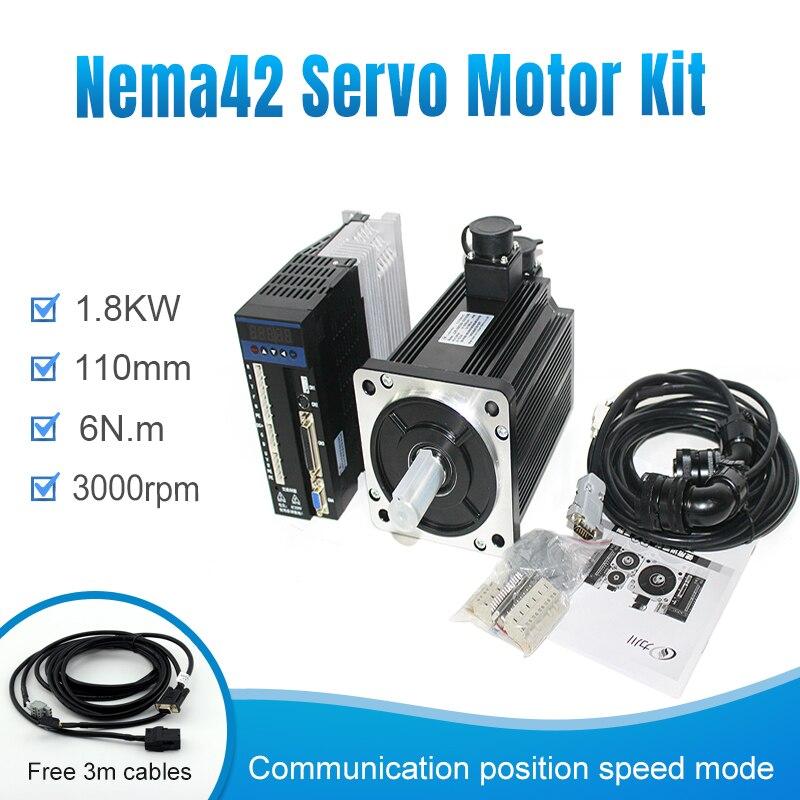 1,8 kW, 110ST-M06030 + B2, 3000RPM, 6n. M. 1800W, 220V, trifásico/monofásico, sincrónico cnc, motor servo de plasma ca y kit servocontrolador