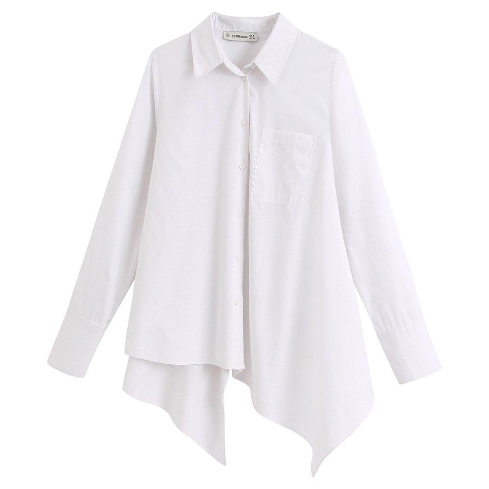 Camisa popelina dobladillo asimétrico parche frontal manga larga solapa Color puro Simple nueva moda Primavera 2020