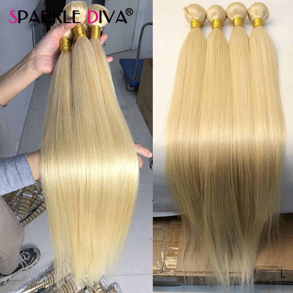 613 Blonde Human Hair Bundles Brazilian Hair Weave Bundles Straight 613 Honey Blonde Human Hair Extension 30 32 inch Remy Hair