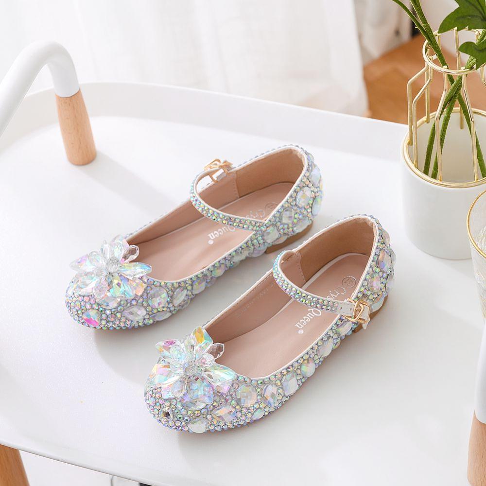 الكريستال الملكة الأطفال حذاء من الكريستال أداء الرقص حجر الراين الفتيات أحذية من الجلد الأميرة الزجاج زهرة الاطفال أحذية عالية الكعب
