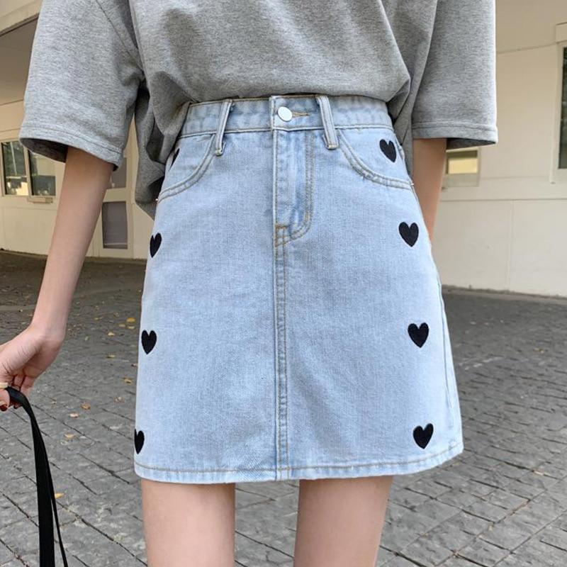 Love Embroidered Women Denim Skirt High Waist A-line Knee-Length Ladies All-Match Printed Skirts Sum