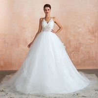 Pure White/Ivory Vestido De Noiva 2020 New Applique length Sexy Wedding Dress Court Train The off the Shoulder Lace