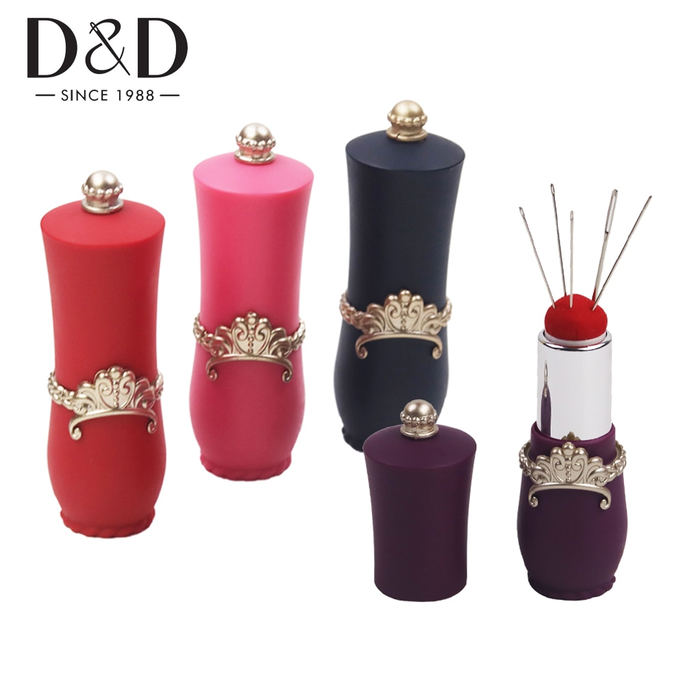 24pcs/Set Fashion Lipstick Shaped Needles Pin Cushion with 5 Sewing Needles Pincushion Rotatable Needle Holder Sewing Tool