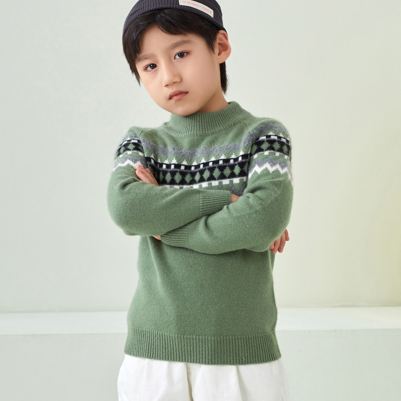 Fall/Winter Boys Pullovers Boys 100% Cashmere Sweaters Warm Casual Kids Pullovers