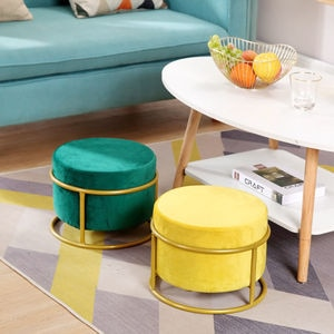 Height adjustable! Nordic luxury living room stool flannel chair cover solid color sofa foot stool low foot stool WF