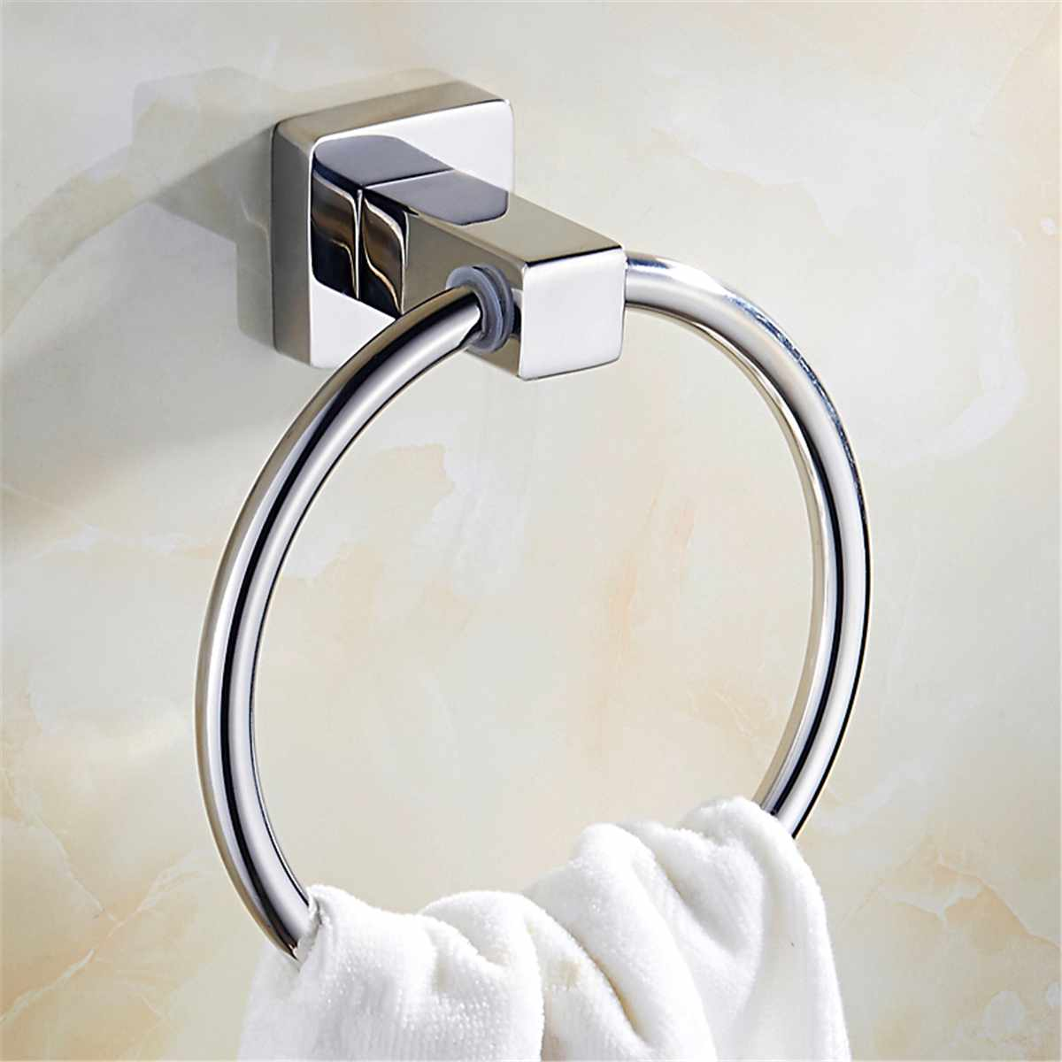 Wall-Mounted Towel Ring Round Hanger Towel Holder Rack Stainless steel Hanging Towel Bar Bathroom Accessories Hardware Fixture