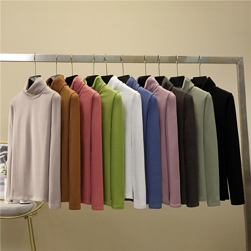Camiseta de cuello tortuga holgada de otoño, camiseta de Color liso, camiseta Coreana de 2020 de doble cara, Tops de manga larga para mujer, ropa para mujer