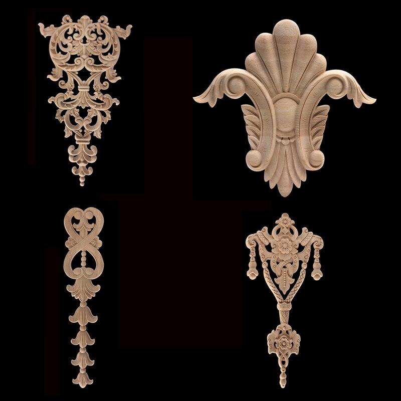 Sin pintar antiguo moderno Ornamental largo corona hojas de madera paredes gabinete hogar manualidades de madera molduras apliques de madera Onlay