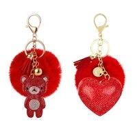 rhinestone flannel bear cute romantic peach heart love plush ball keychain small gift lady bag wallet cute bear pendant