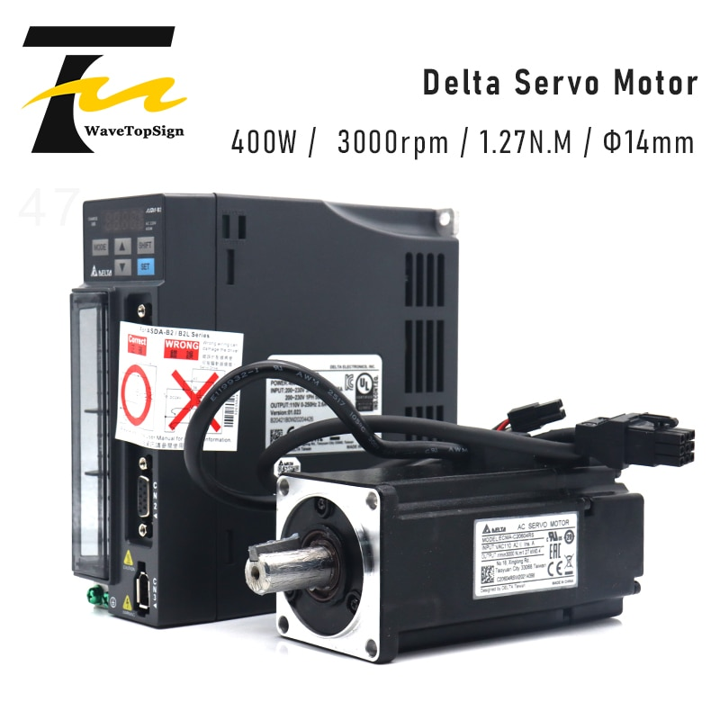 دلتا دلتا AC مضاعفات 400W B2 0.4KW 1.27NM 3000rpm 60 مللي متر ASD-B2-0421-B ECMA-C20604RS محرك السيارات كيت مع 3m كابل