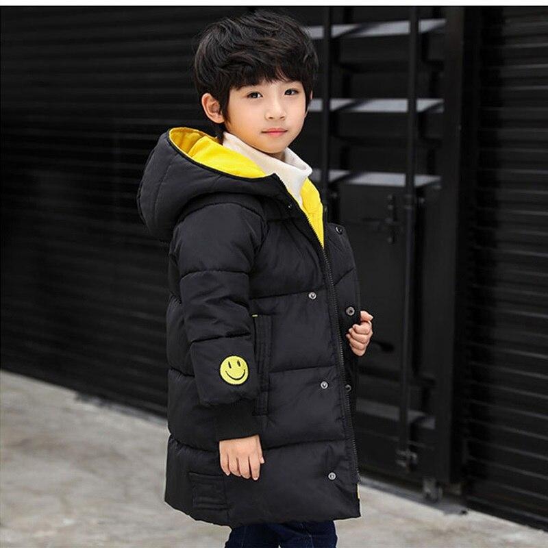2019 nova moda outono & inverno crianças casacos de algodão crianças longas outwear meninos smiley casaco de inverno das crianças