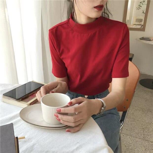 KK2163 صيف 2021 تصميم جديد تحسس الأزواج المتخصصة قصيرة الأكمام تي شيرت المرأة