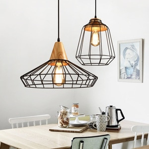 Retro Style LED Pendant Lights Iron Net/Wooden Simple Lamp For Living Dining Room Study Bedroom Hall Home Salon Indoor Lighting
