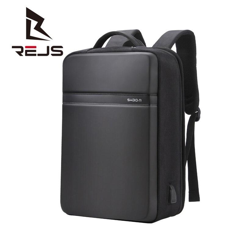 REJS LANGT رجال الأعمال على ظهره مكتب العمل 15.6 بوصة حقيبة لابتوب USB الخارجية تهمة موضة هارد شل حقائب مدرسية
