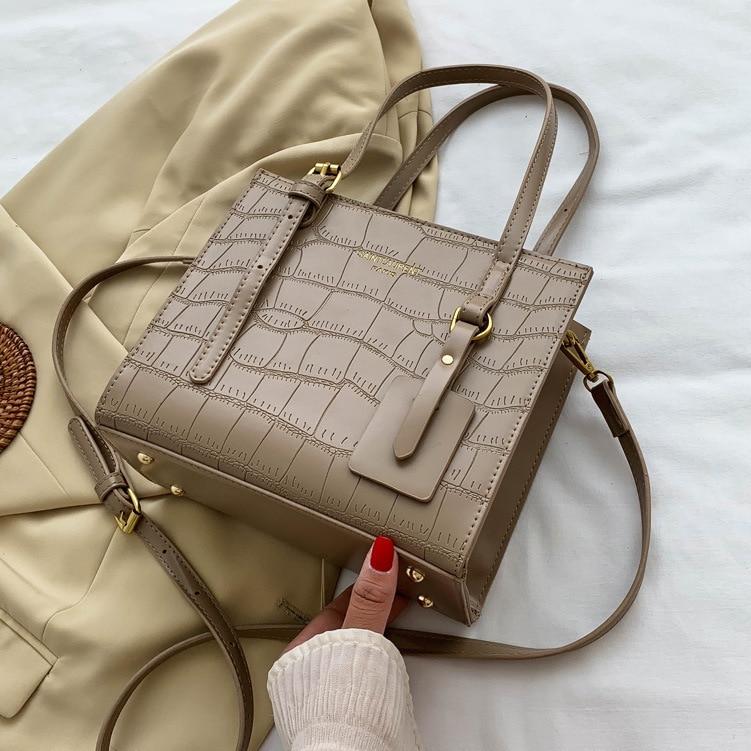حجر نمط صغير بولي Leather حقائب جلدية Crossbody للنساء حقائب اليد 2021 الاتجاه الجديد حقائب كتف مصمم العلامة التجارية حقيبة يد الإناث