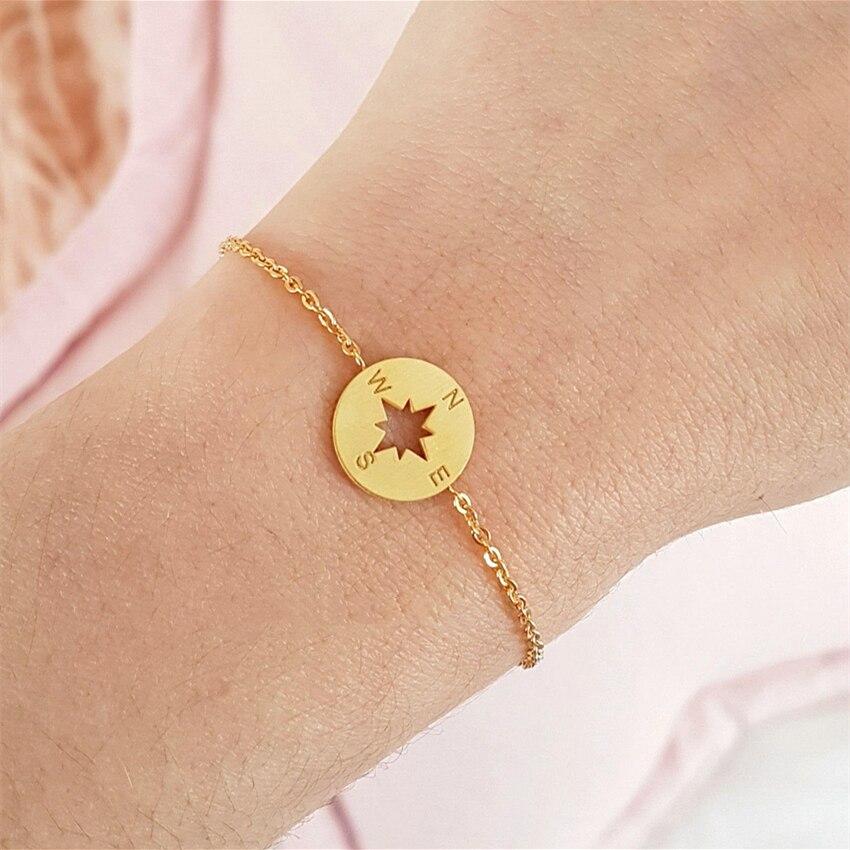 Geeks viagem bússola encantos pulseiras para mulheres homens jóias minimalista aço inoxidável rosa ouro cheio redondo pulseira femme