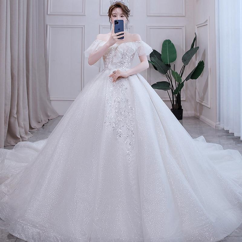 SSYFashion Luxury Wedding Dress for Bride Princess Glittering A-line Court Train Sequins Beading Wedding Gowns Vestido De Novia