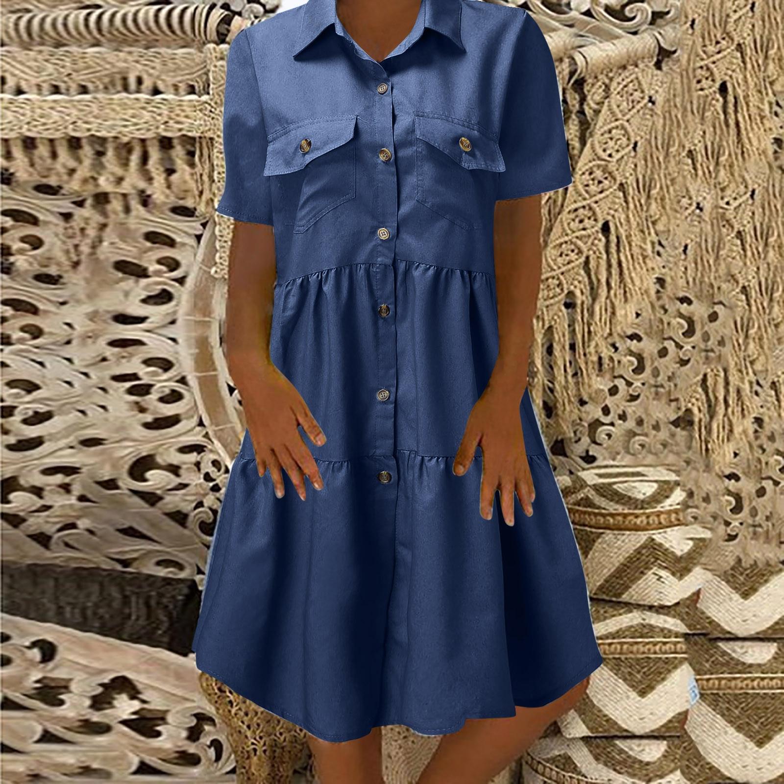 Vestido de verano vaquero desgastado de manga corta con solapa, estilo Retro,...