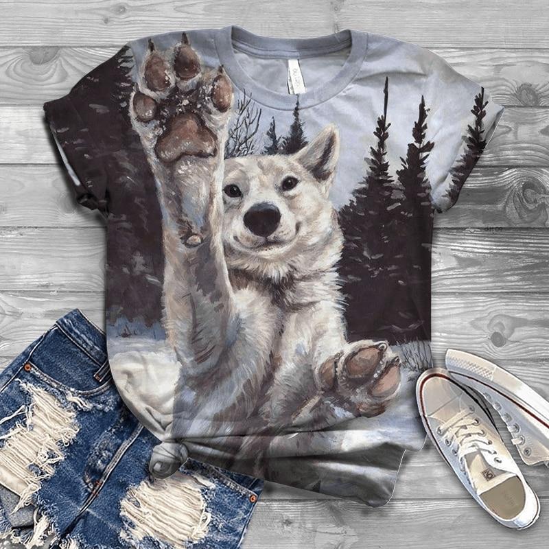 Фото - 2021 new hot sale short-sleeved summer 3DT shirt wolf head print short-sleeved couple T-shirt animal top streetwear 110-6xl 2021 latest hot sale 3d cartoon print short sleeved t shirt harajuku t shirt 110 xxs 6xl