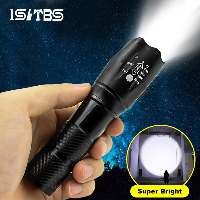LED Flashlight Ultra Bright Torch T6/L2 Outdoors Waterproof Zoomable Rechargeable 18650 Battery Flas