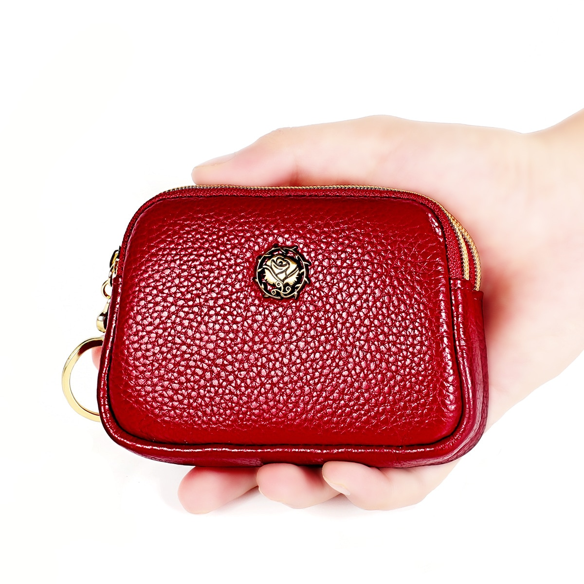 Fashion Genuine Leather Women Coin Purse Double Zipper Small Wallet