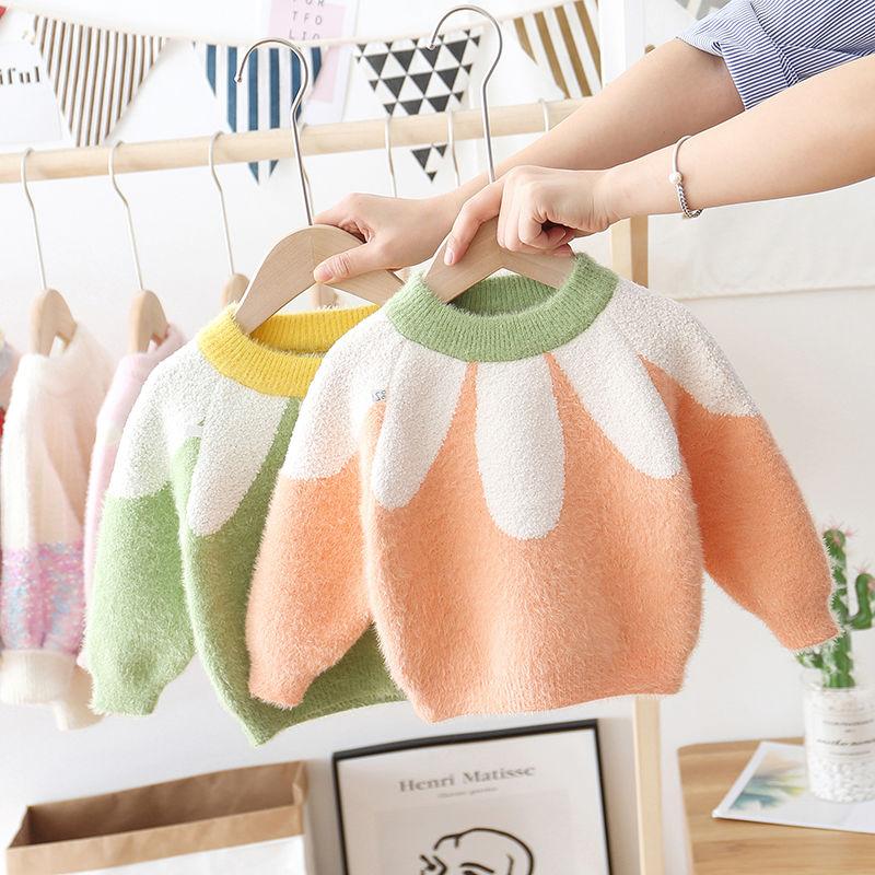 Suéter de invierno y otoño para niñas de 1 a 7 años de edad, suéter de Mohair flower para niños de ins, suéteres de Navidad