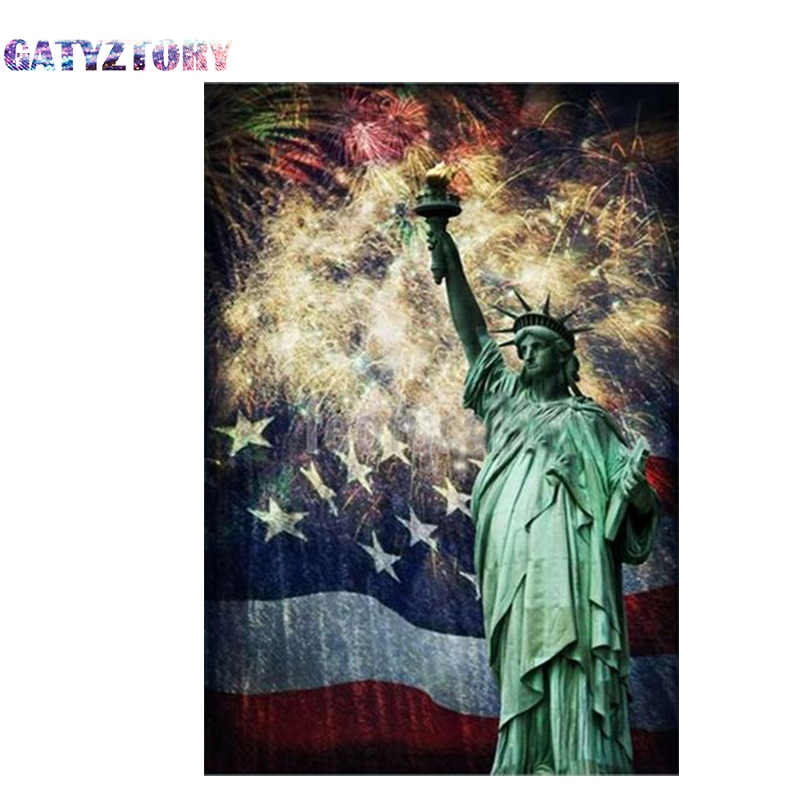 GATYZTORY Full square drill 5d diy diamond painting new york city landscape 3d diamond mosaic liberty goddess icon handmade