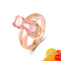 ring 925 silver jewelry cat shape rose quartz zircon gemstone open finger rings for women wedding engagement party accessories
