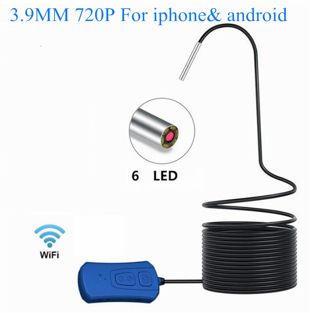 Endoscope WiFi sans fil 3.9mm 720P   Endoscope HD 3X Zoom, caméra dinspection sans fil avec 6 led, caméra serpent pour iphone android