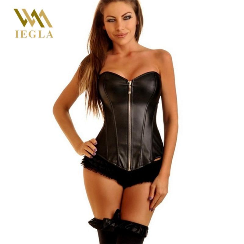 Corsé de cuero Sexy Para Mujer, corpiño Steampunk con cremallera, color negro, corsé Para Mujer, ropa moldeadora