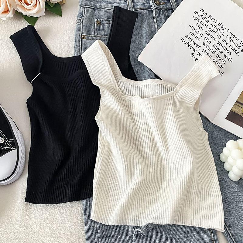 White Square-Cut Collar I-Shaped Vest Women's Summer Design Sense Niche Knitted Ice Silk Inner Wear