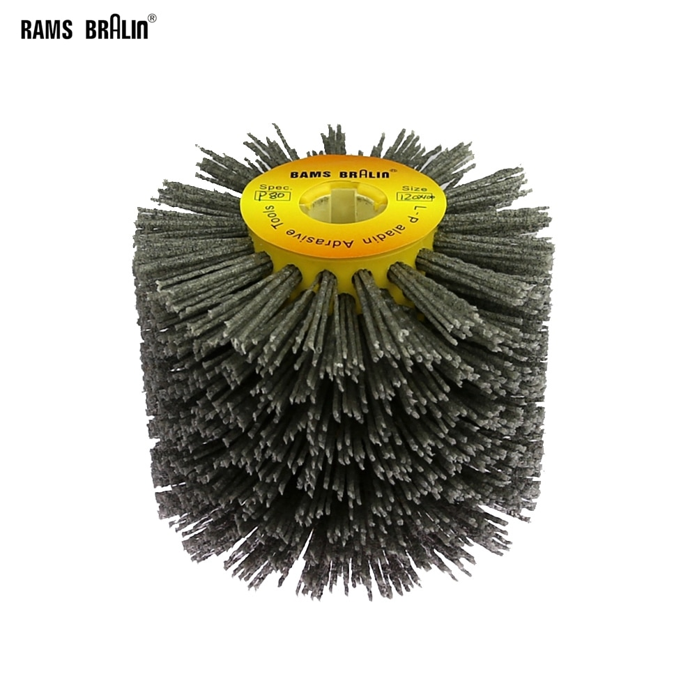 1 pcs 120*100*19mm Nylon Abrasive Wire Drum Polishing Wheel Electric Brush for Woodworking Metalworking