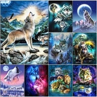 5d diy diamond painting wolf full drill mosaic animal picture diamond embroidery cross stitch kit home decoration handmade gifts