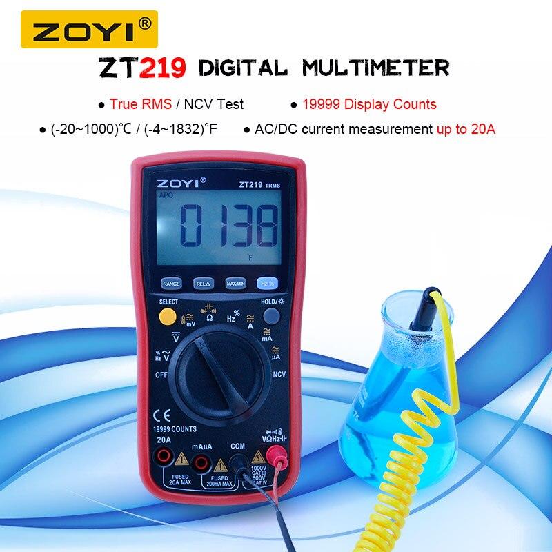 ZOYI ZT219 True-RMS 19999 التهم الرقمية السيارات المدى المتعدد NCV تردد السيارات خارج التيار المتناوب تيار مستمر الجهد مقياس التيار الكهربائي الحالي أوم