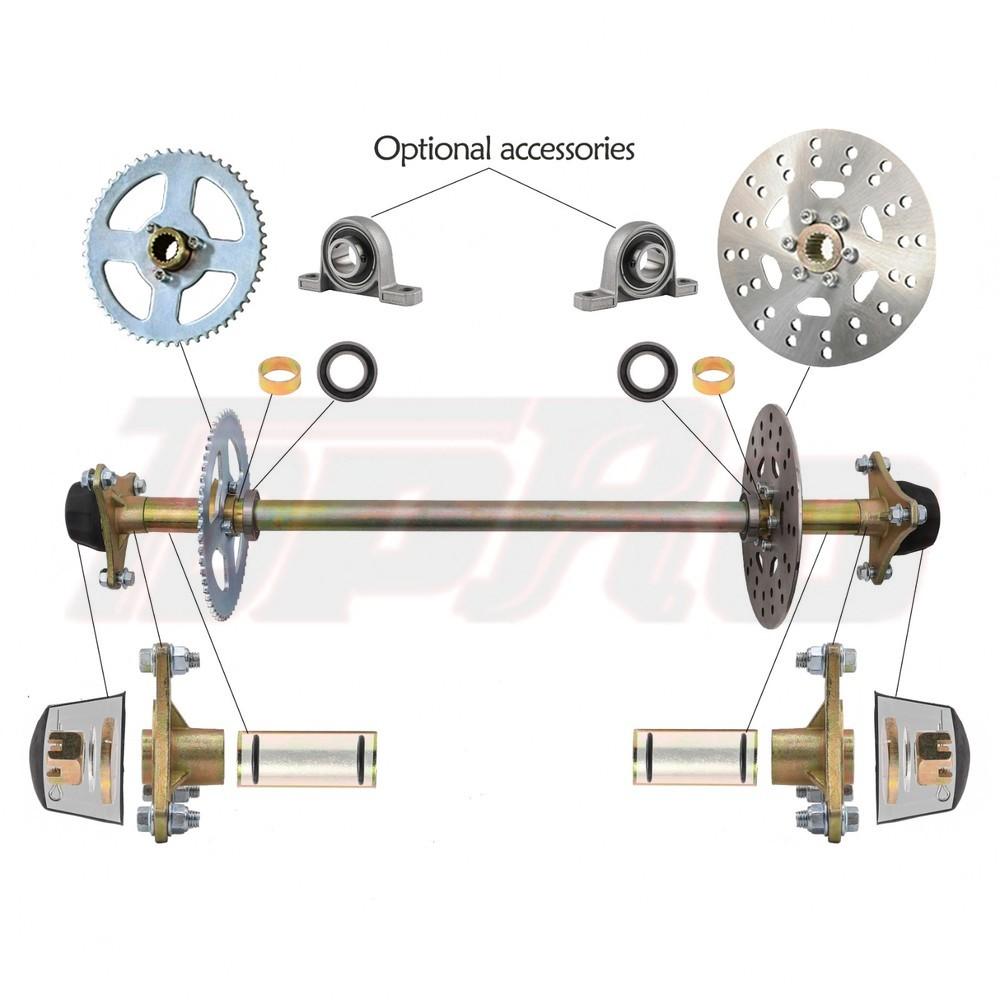 """TDPRO Go Kart Rear Axle Kit Brake Hub Disc Rotor T8F Chain Sproket Drift Trike Cart 740mm 29"""" Kid Go Kart Wheel Hub Set Assembly"""