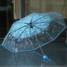 Parapluies femmes 3 plis soleil pluie   Parapluies à fleurs de cerisier clairs, outils de pluie, parapluie à fleurs Transparent pour femme @ 25