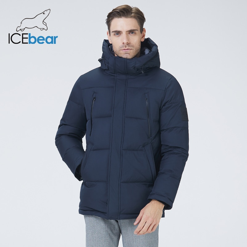 ICEbear 2021 جديد الشتاء الرجال سترة مقنعين ملابس للرجال رشاقته الدافئة سترة موضة ماركة الرجال MWD21823i