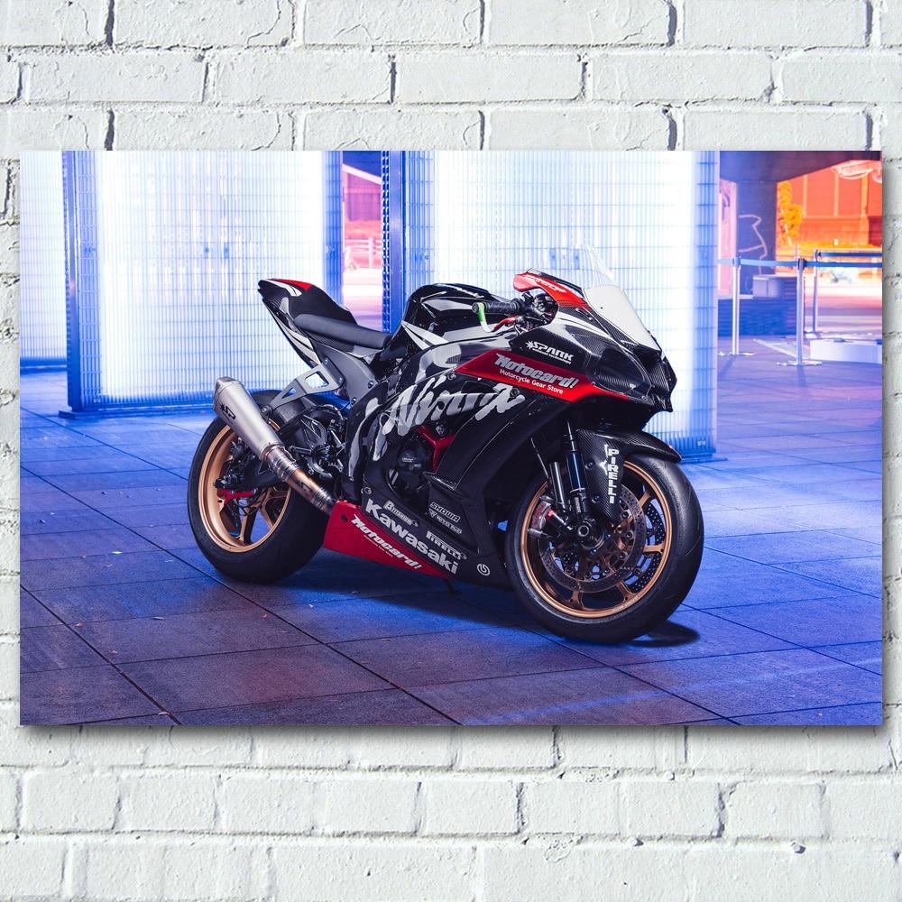 Motorcycles Kawasaki Ninja H2 Race Sport Superbike Wall Art Posters Canvas Prints silk paintings For Living Room Decor