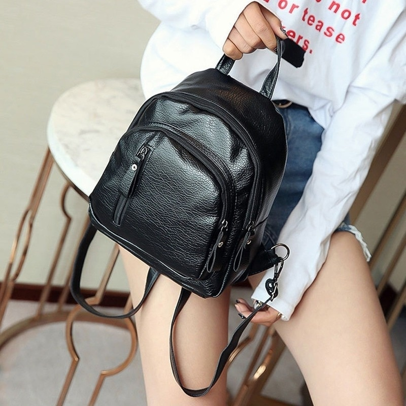 Women Fashion Solid Backpack Multifunction Shoulder Bookbags School Bag Cute Fashion PU Leather Back