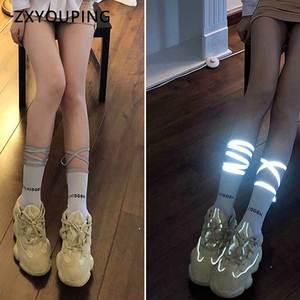 New Reflective Belt Socks Women Personality Luminous Cotton Tube Socks Hip Hop Style Fluorescent Straps Ladies Socks