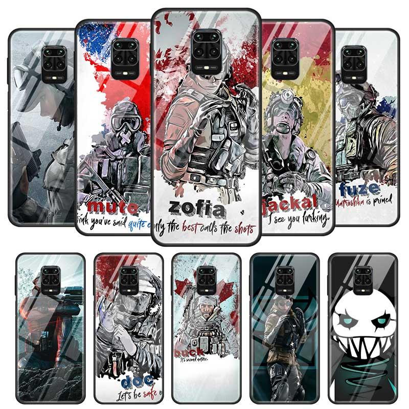Rainbow Six Siege Cases For Xiaomi Redmi Note 9S 8 8T 7 6 9 Pro Max Mi 10 8 Lite CC9 CC9E 9T Poco X2 Glass Caso Cover